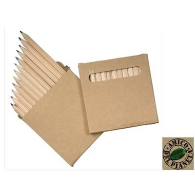 Set 12 matite colorate in scatola di cartone riciclato