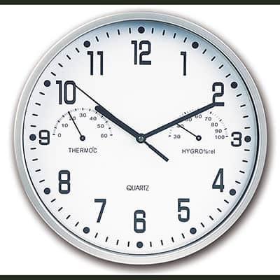 Orologio da parete in abs cromato con igrometro e termometro