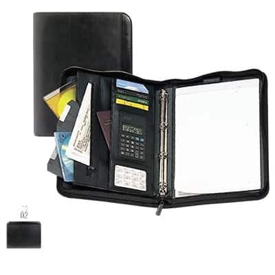 Cartella porta-documenti con 8 scomparti blocco e calcolatrice in ecopelle