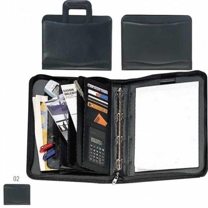 Cartella porta-documenti con 12 scomparti blocco calcolatrice e manici a scomparsa