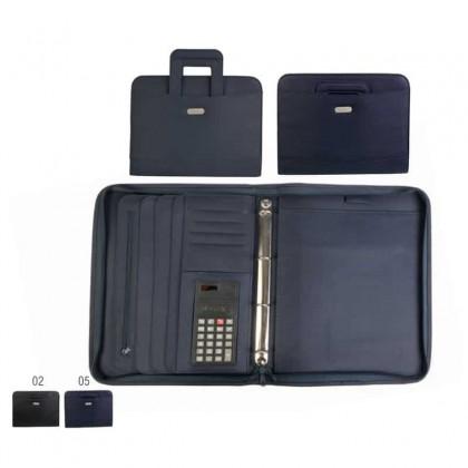 Cartella con 12 tasche calcolatrice porta penna 4 anelli manici a scomparsa