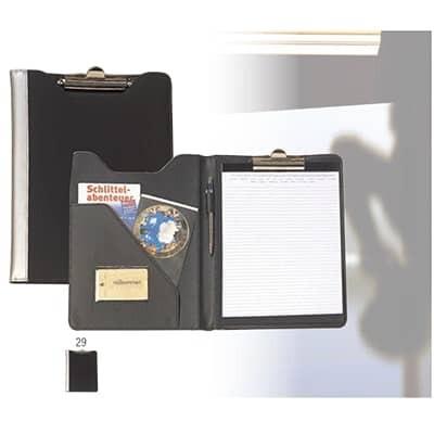 Cartella portadocumenti in materiale gommato imbottito, porta-penna e 2 tasche