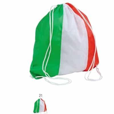 Zainetto tricolore in poliestere con angoli rinforzati