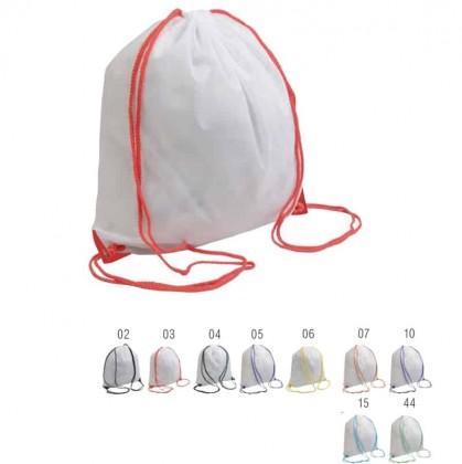 Zainetto bianco in poliestere, manici colorati con angoli rinforzati