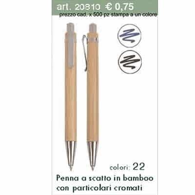 Penna a scatto in bamboo con particolari cromali