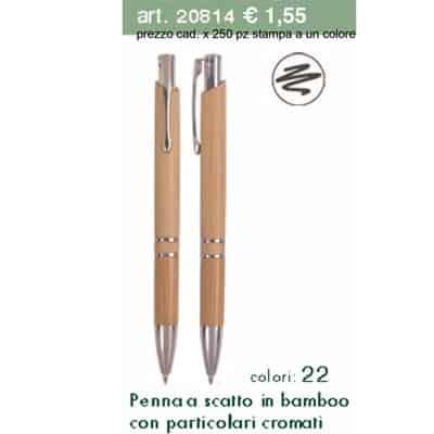 Penna a scatto in bamboo con particolari cromati da 250 pezzi