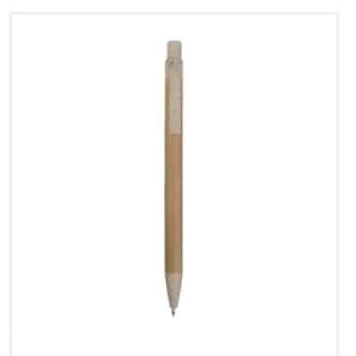 Penna a scatto in carta riciclata con dettagli in paglia di grano