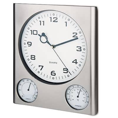 Orologio da parete rettangolare con termometro e igrometro