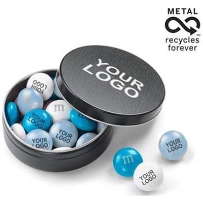 Scatolina in metallo con 20 gr di confetti MM&M's