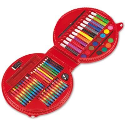 Astuccio con matite colorate - pennarelli - colori a cera