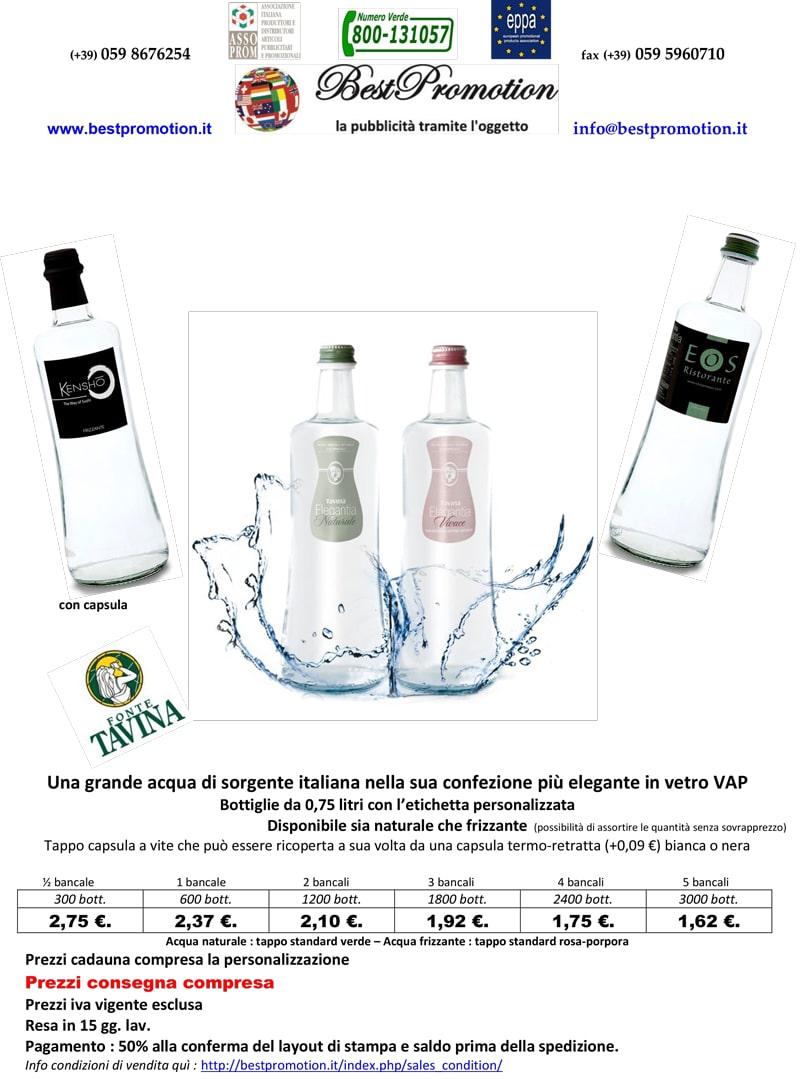bottiglia d'acqua in vetro personalizzata