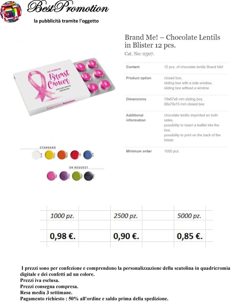 Brand Me! Chocolate Lentils in Blister 12 pz. personalizzato