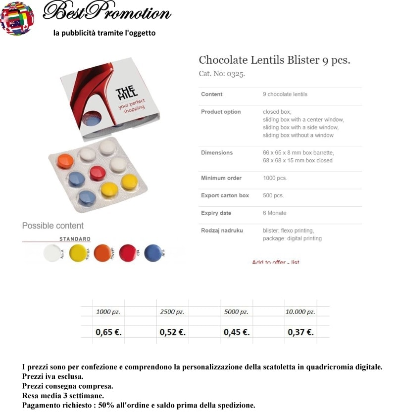 Choco Lenticchie Blister 9 pz.