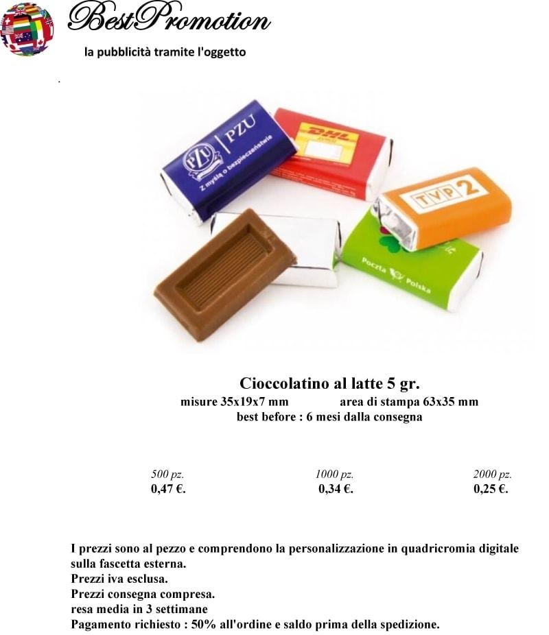 Cioccolatino Al Latte 5 gr. personalizzato