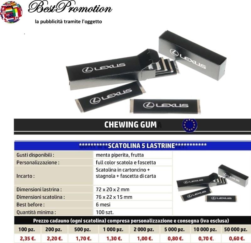 Chewing Gum 5 Lastrine personalizzato