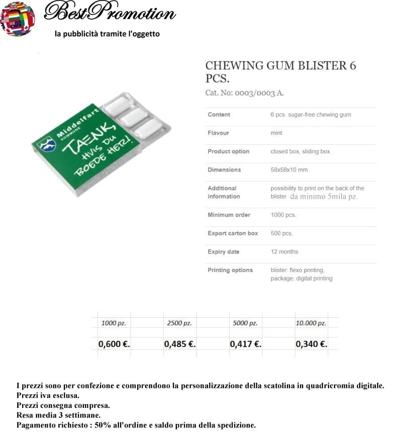 Chewing Gum Blister 6 pz. personalizzato