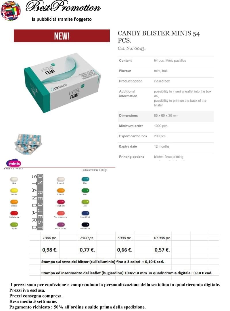 Candy Blister Minis 54 pz. personalizzato