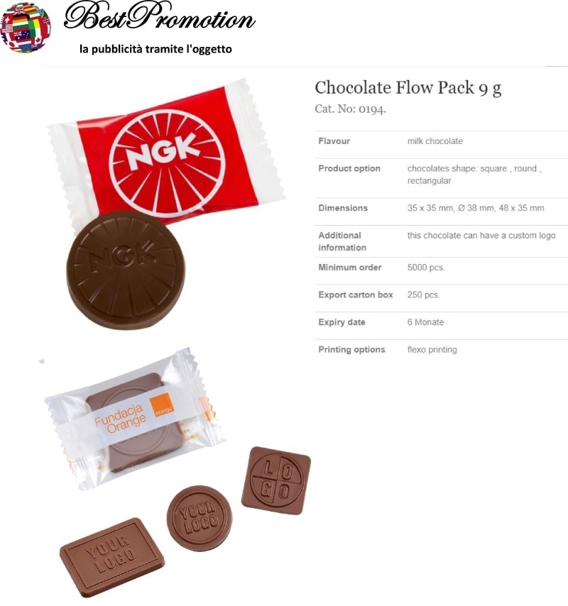 Choco Flow Pack 9 gr. personalizzato