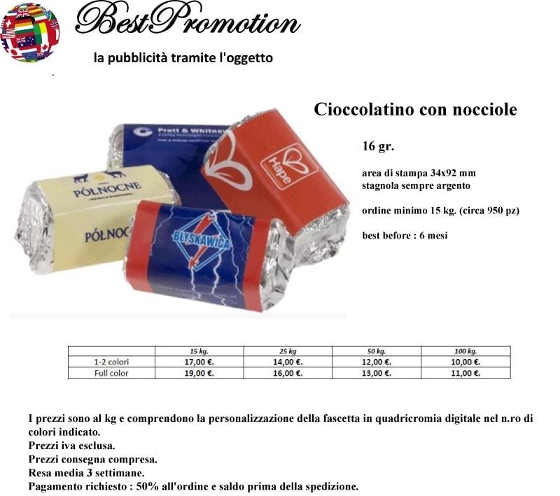Cioccolatino con nocciole 16 gr. personalizzato