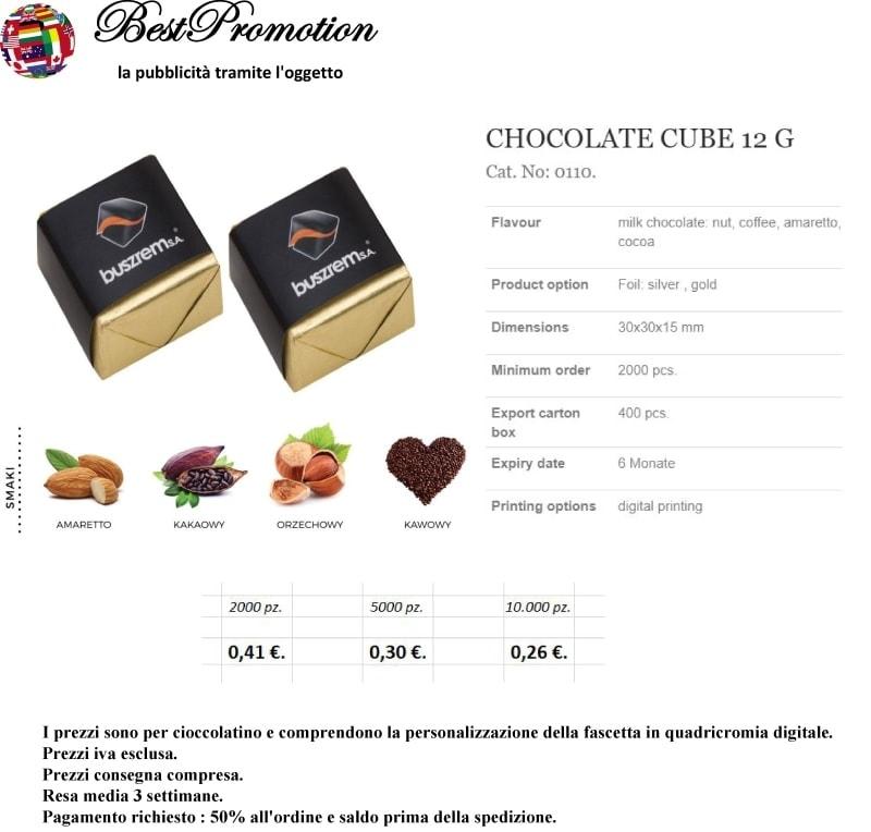 Choco Cube 12 gr. personalizzato