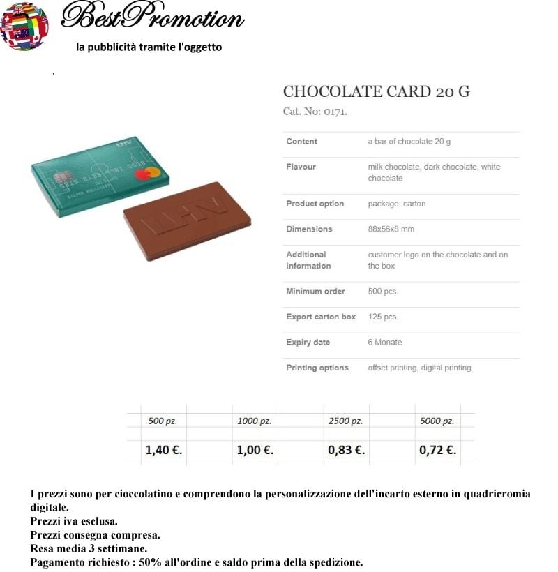 Choco Card 20 gr. personalizzato