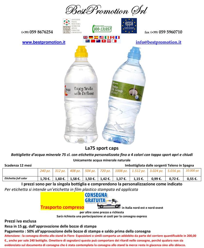 bottiglia d'acqua personalizzata