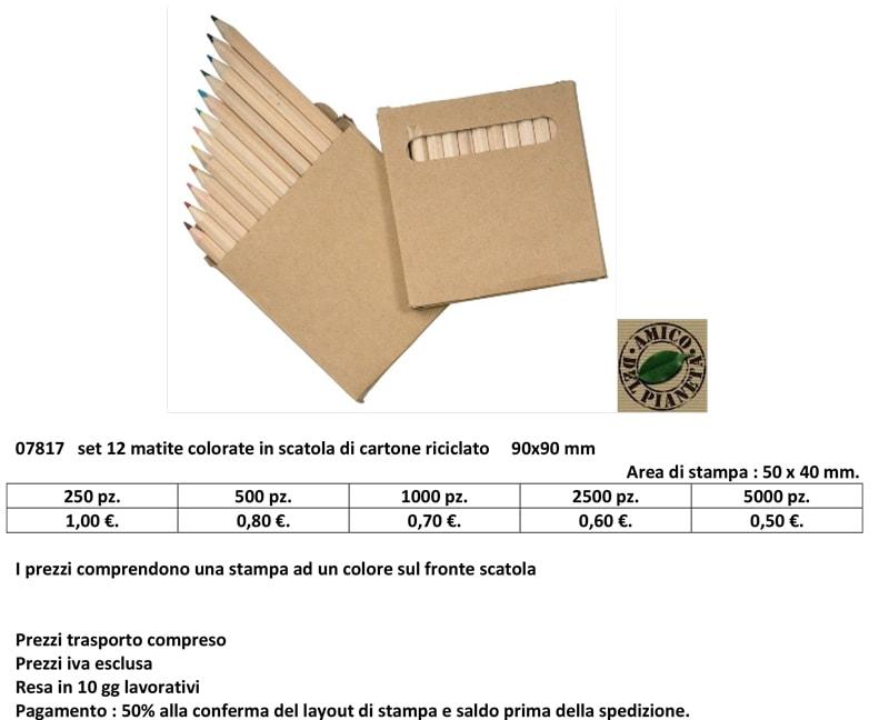 set 12 matite in cartone personalizzato