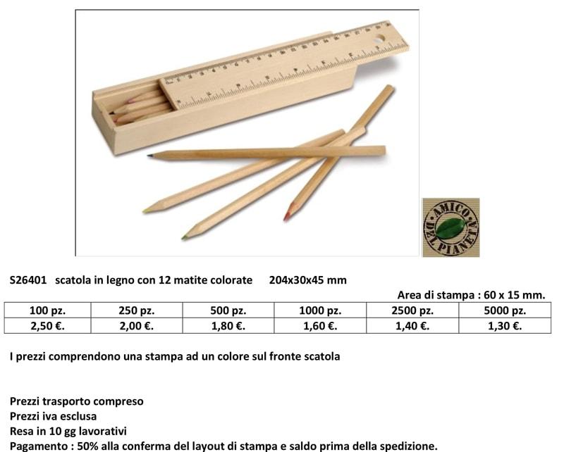 Scatola in legno personalizzata con matite colorate