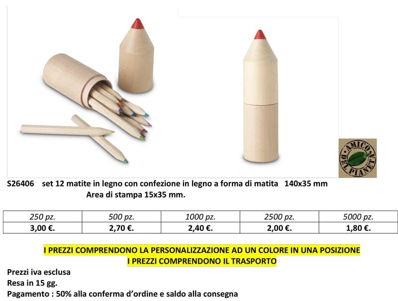 Confezione in legno a forma di matita personalizzata
