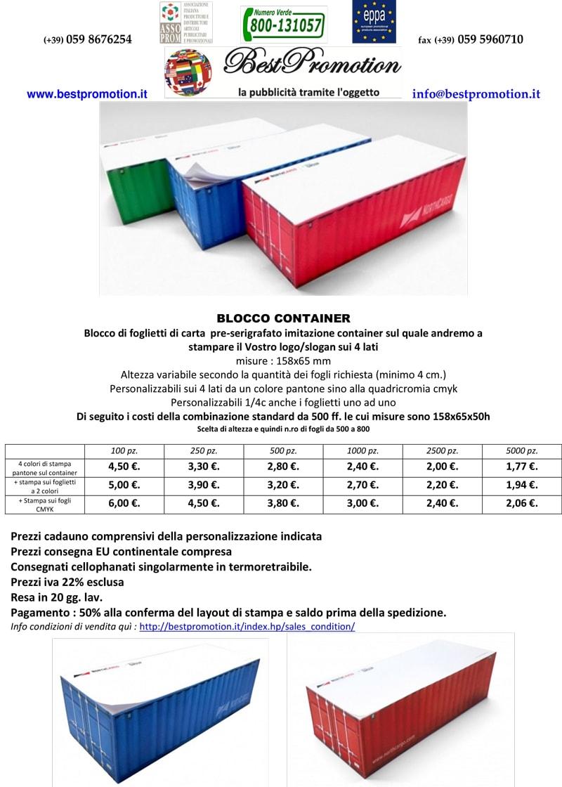 blocco portacontainer personalizzato