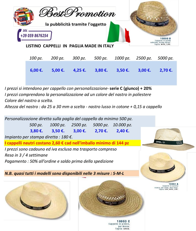 Cappelli personalizzati in paglia
