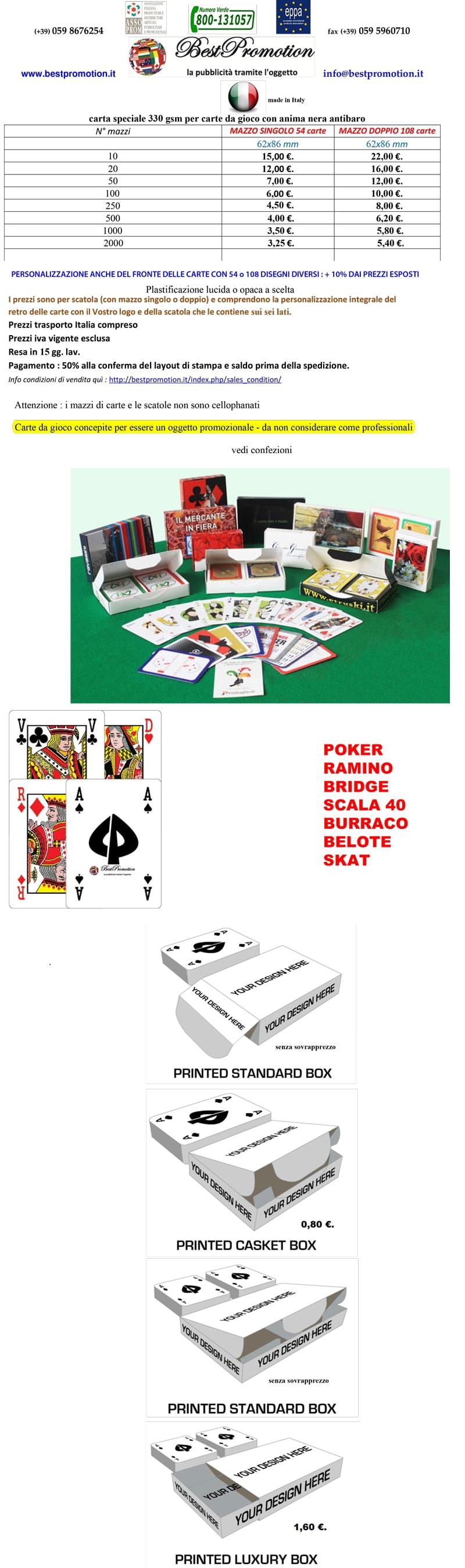 carte da poker ramino burraco personalizzate