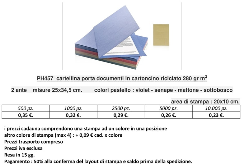 Cartellina porta documenti in cartoncino riciclato