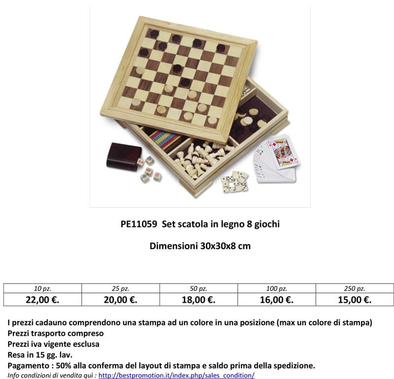 Set scatola personalizzata in legno 8 giochi