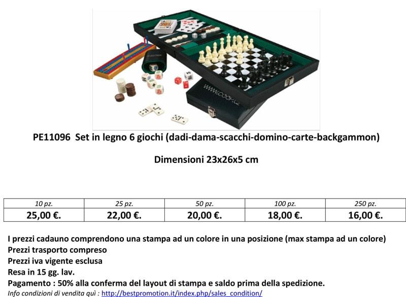 Set in legno con 6 giochi personalizzato