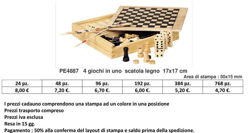 4 giochi in uno scatola legno
