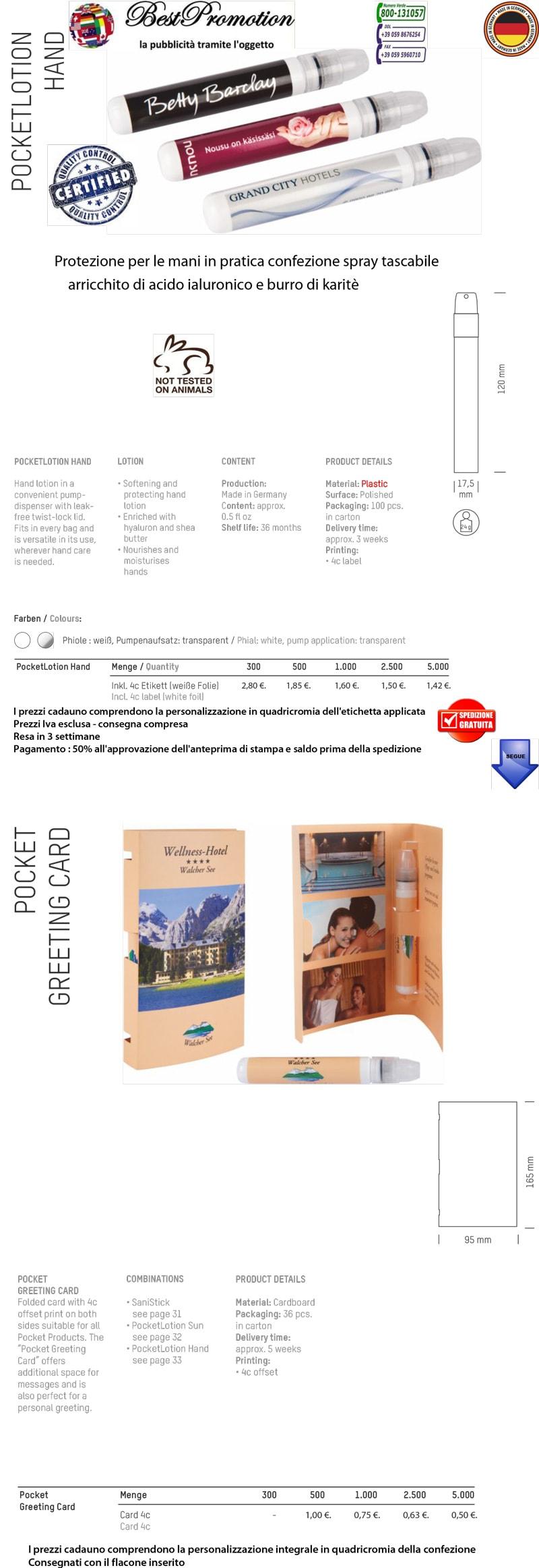 Protezione per le mani in pratica confezione spray tascabile arricchito di acido ialuronico e burro di karitè