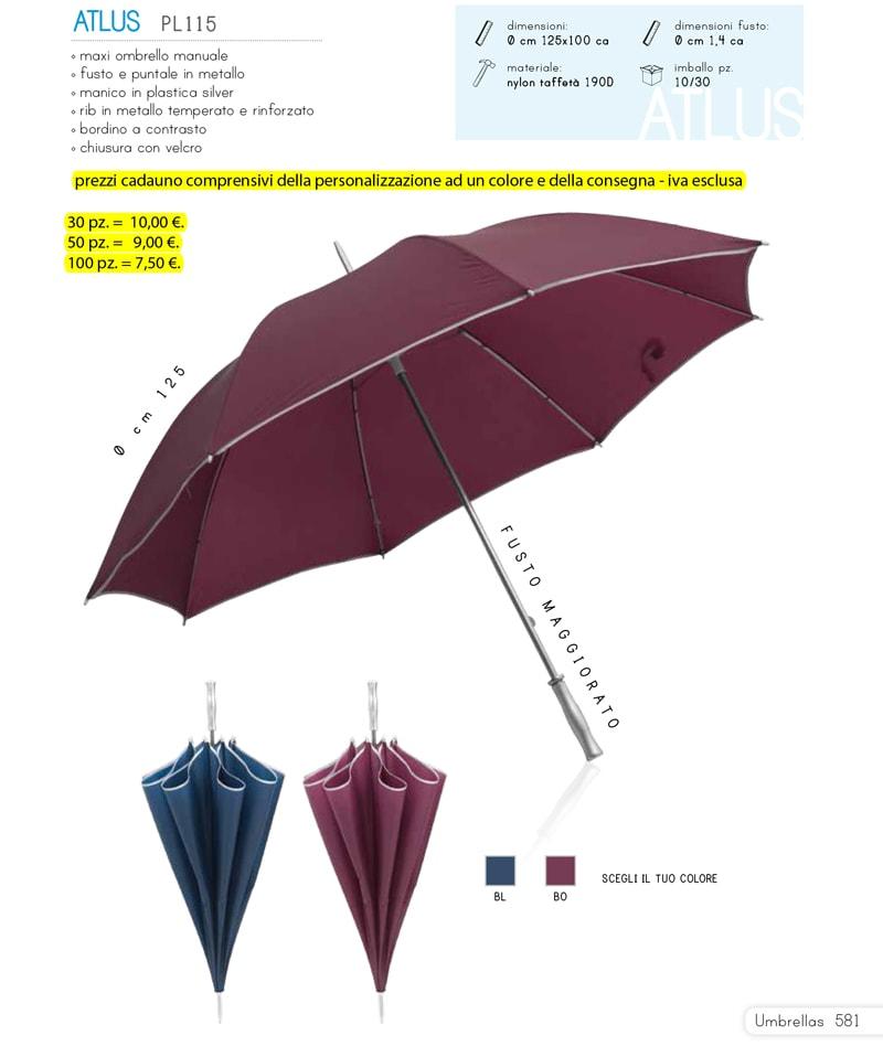 Maxi ombrello personalizzato e con bordino a contrasto