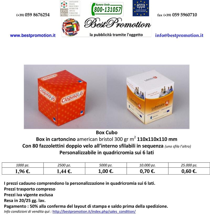 box a forma di cubo personalizzato contenente fazzolettini