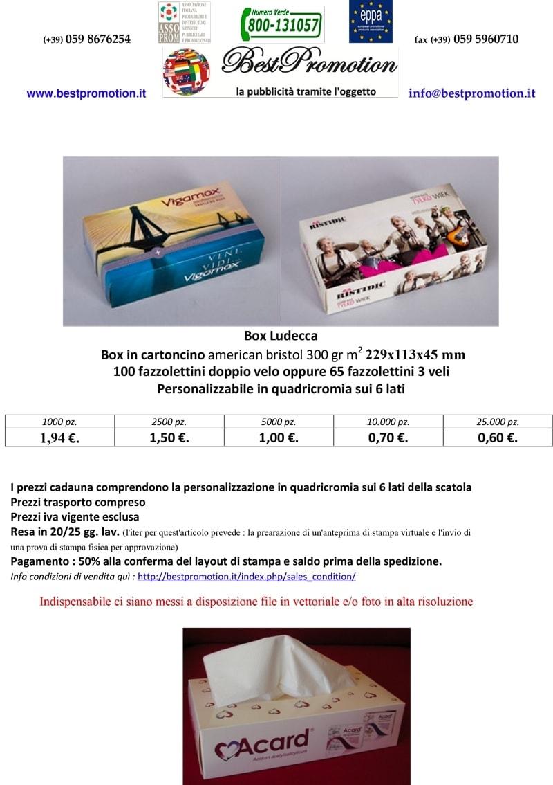 box con 100 fazzolettini doppio velo personalizzato